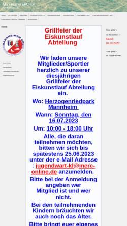 Vorschau der mobilen Webseite www.merc-ks.de, Mannheimer ERC Kunstlauf und Schnellauf e.V.