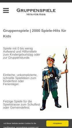 Vorschau der mobilen Webseite www.gruppenspiele-hits.de, Spiele Hits für Kids