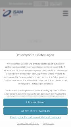 Vorschau der mobilen Webseite www.isam-inma.de, iSAM-inma GmbH