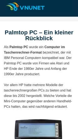 Vorschau der mobilen Webseite palmtopmagazin.de, Palmtop & Smartphone Magazin