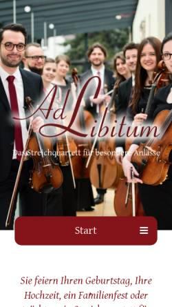 Vorschau der mobilen Webseite www.streichquartett-ad-libitum.de, Ad Libitum