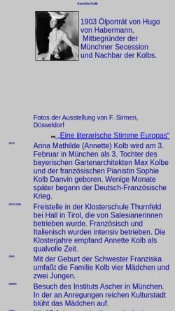 Vorschau der mobilen Webseite www.phil-fak.uni-duesseldorf.de, Annette Kolb