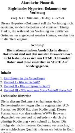 Vorschau der mobilen Webseite www.phonetik.uni-muenchen.de, Akustische Phonetik