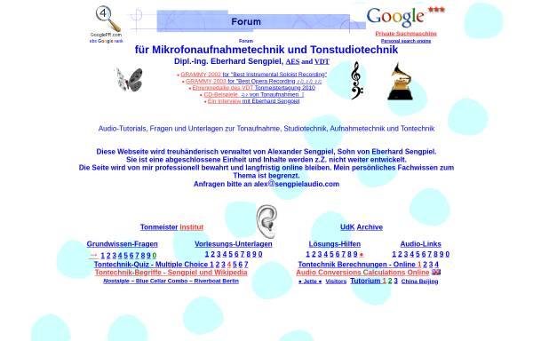 Vorschau von www.sengpielaudio.com, Forum für Mikrofonaufnahme und Tonstudiotechnik