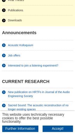 Vorschau der mobilen Webseite www.akustik.rwth-aachen.de, Institut für Technische Akustik der RWTH Aachen