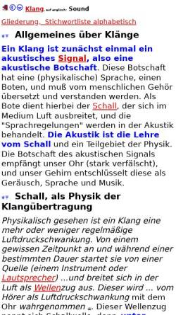 Vorschau der mobilen Webseite home.snafu.de, Klang