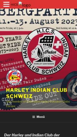 Vorschau der mobilen Webseite www.harley-indian-club.ch, Harley Indian Club Schweiz (HICS)