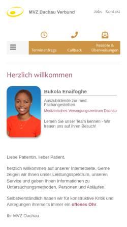 Vorschau der mobilen Webseite www.dachau-med.de, Landry, Dr. med. Wilfred, Wilhelm, Dr. med. Karl, Kindermann, Dr. med. Thomas,
