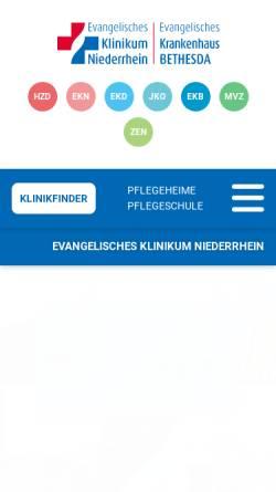 Vorschau der mobilen Webseite www.ejk.de, Evangelisches und Johanniter Klinikum Niederrhein gGmbH
