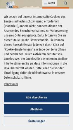 Vorschau der mobilen Webseite www.kgnw.de, Krankenhausgesellschaft Nordrhein-Westfalen e.V. (KGNW)