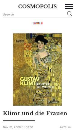Vorschau der mobilen Webseite cosmopolis.ch, Gustav Klimt und die Frauen