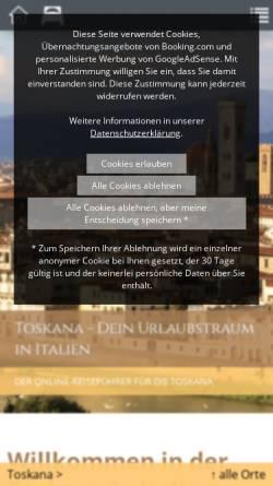 Vorschau der mobilen Webseite www.florenz-siena-toskana.de, Florenz Siena Toskana