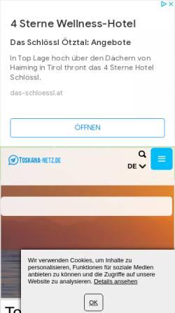 Vorschau der mobilen Webseite www.toskana-netz.de, Toskana-netz