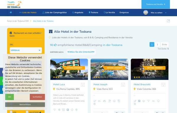 Vorschau von www.ferienindertoskana.com, Vacanze in Versilia