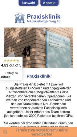 Vorschau der mobilen Webseite www.ambulantoperieren.de, Praxisklinik für ambulantes Operieren Göttingen