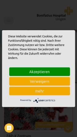 Vorschau der mobilen Webseite www.bonifatius-hospital-lingen.de, St. Bonifatius-Hospital Lingen
