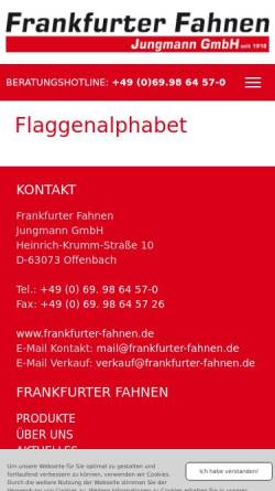 Vorschau der mobilen Webseite www.frankfurter-fahnen.de, Flaggenalphabet