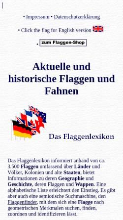 Vorschau der mobilen Webseite www.flaggenlexikon.de, Lexikon der Flaggen [Preuß, Volker]