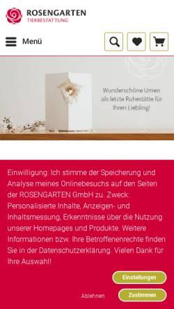 Vorschau der mobilen Webseite www.rosengarten-versand.de, Kleintierkrematorium im Rosengarten GmbH