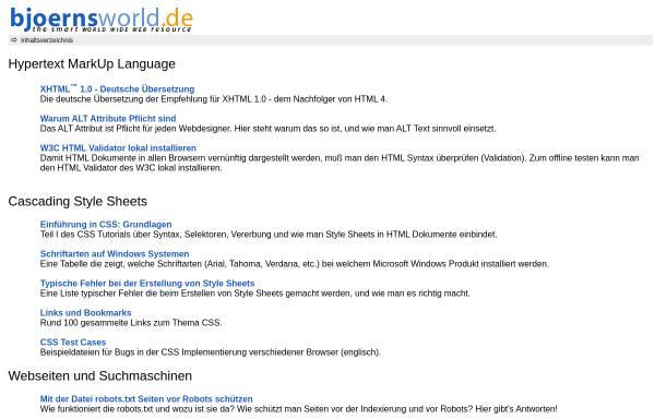 Vorschau von www.bjoernsworld.de, Bjoernsworld.de