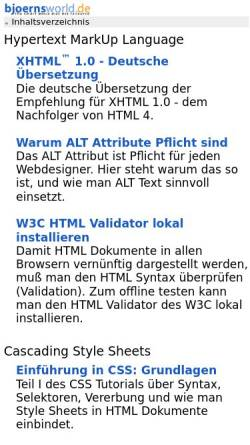 Vorschau der mobilen Webseite www.bjoernsworld.de, Bjoernsworld.de