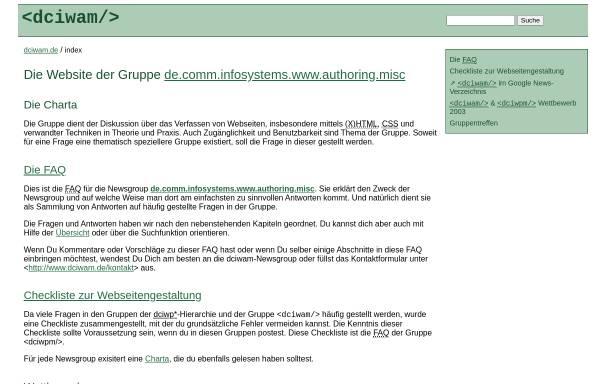 Vorschau von dciwam.de, de.comm.infosystems.www.authoring.misc