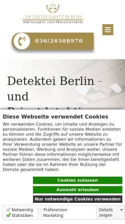 Vorschau der mobilen Webseite www.detektei-fahtz.de, Detektei Fahtz Berlin