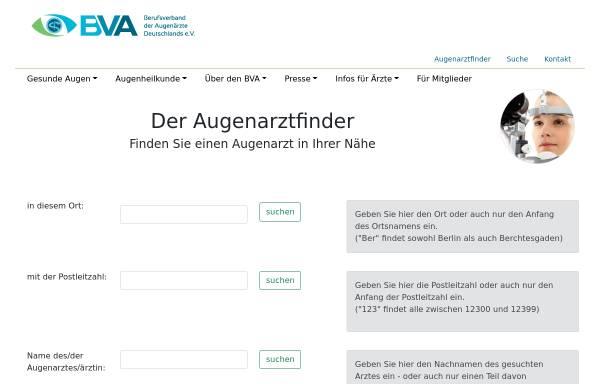 Vorschau von www.augenarztfinder.de, Augenarztsuchmaschine für Patienten