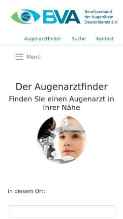 Vorschau der mobilen Webseite www.augenarztfinder.de, Augenarztsuchmaschine für Patienten
