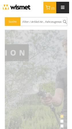 Vorschau der mobilen Webseite www.filterhandel-wismet.de, Filterhandel Wismet e.K.