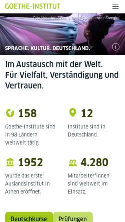Vorschau der mobilen Webseite www.goethe.de, Goethe-Institut e. V.