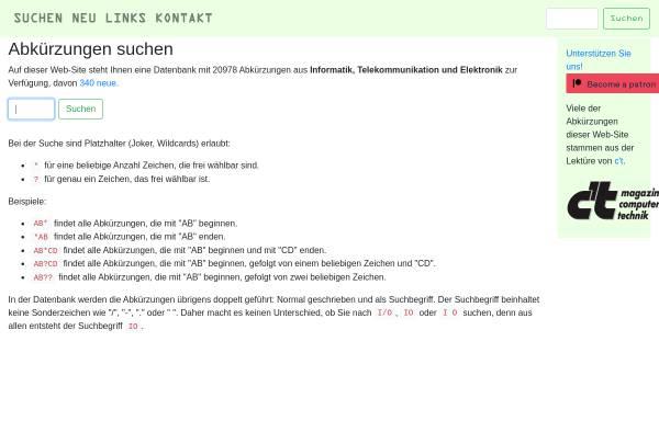 Vorschau von www.abkuerzung.ch, Abkürzungen aus Informatik, Telekommunikation und Elektronik