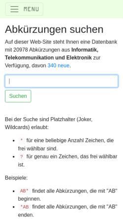 Vorschau der mobilen Webseite www.abkuerzung.ch, Abkürzungen aus Informatik, Telekommunikation und Elektronik
