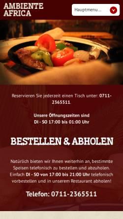 Vorschau der mobilen Webseite www.restaurantafrika.de, Ambiente Afrika Restaurant