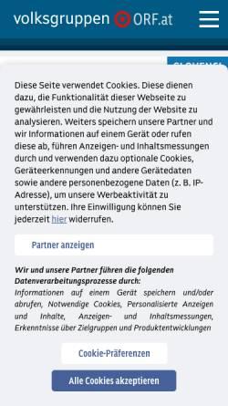 Vorschau der mobilen Webseite volksgruppen.orf.at, Volksgruppen Minderheiten Menschenrechte