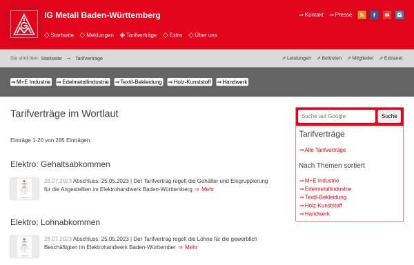 Vorschau von www.bw.igm.de, IG Metall Baden-Württemberg - Alle Tarifverträge in zeitlicher Reihenfolge