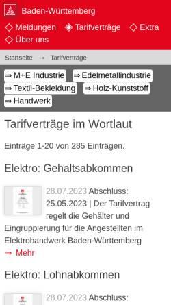 Vorschau der mobilen Webseite www.bw.igm.de, IG Metall Baden-Württemberg - Alle Tarifverträge in zeitlicher Reihenfolge
