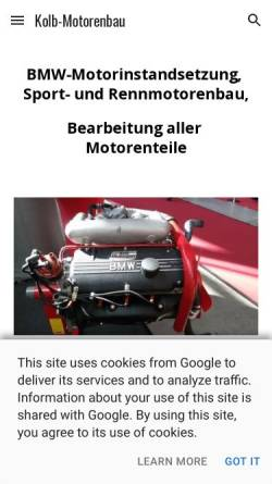 Vorschau der mobilen Webseite www.kolb-motorsport.de, Kolb Motorsport