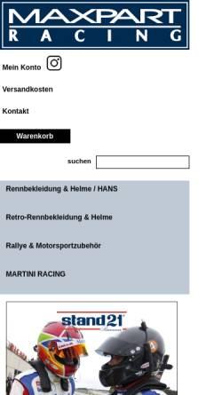 Vorschau der mobilen Webseite www.maxpart-racing.de, Maxpart Racing
