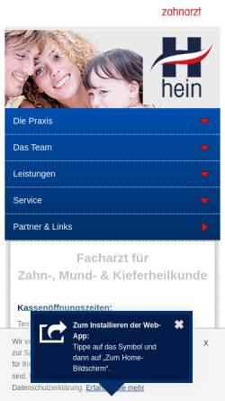 Vorschau der mobilen Webseite www.zahnarzt-hein.at, Dr. med. univ. et med. dent. Peter Hein