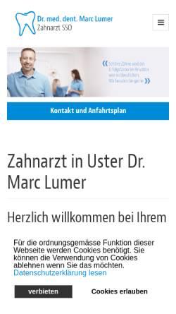Vorschau der mobilen Webseite www.zahnarzt-lumer.ch, Dr. med. dent. Lumer