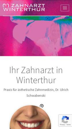 Vorschau der mobilen Webseite www.aesthetische-zahnmedizin.ch, Dr. med. dent. Ulrich Schwabenski