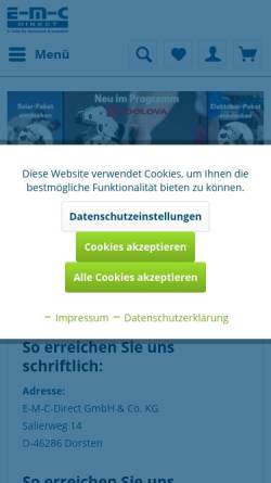 Vorschau der mobilen Webseite www.emc-direct.de, E-M-C-direct GmbH & Co. KG