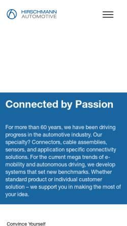 Vorschau der mobilen Webseite www.hirschmann.at, Hirschmann Automotive GmbH