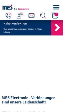 Vorschau der mobilen Webseite www.mes-electronic.de, MES Electronic Connect GmbH + Co. KG