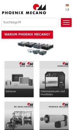Vorschau der mobilen Webseite www.phoenix-mecano.ch, Phoenix Mecano Komponenten AG