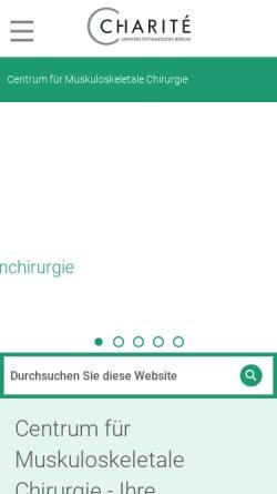 Vorschau der mobilen Webseite cmsc.charite.de, Centrum für Muskuloskeletale Chirurgie, Berlin