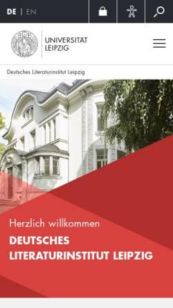 Vorschau der mobilen Webseite www.deutsches-literaturinstitut.de, Deutsches Literaturinstitut Leipzig