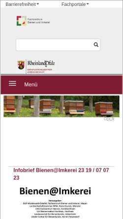 Vorschau der mobilen Webseite www.bienenkunde.rlp.de, Fachbereich Bienenkunde (SLVA), Mayen
