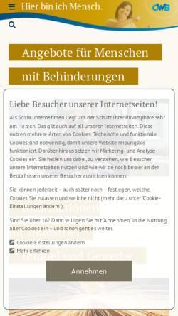 Vorschau der mobilen Webseite www.owb.de, Oberschwäbische Werkstätten für Behinderte gGmbH